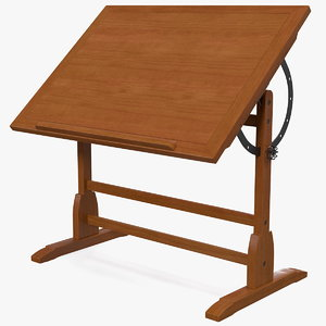 vintage wood drafting table 3D model