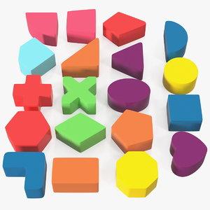 3D plastic geometric figures set