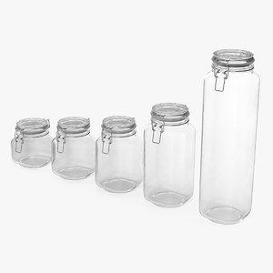 3D glass storage preserving jars