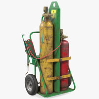 Oxygen and Acetylene Torch Welding Cart Set Old