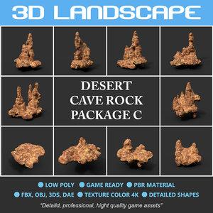 cave desert rock polys 3D model