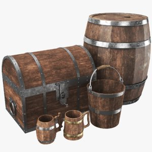 3D real old wooden chest model