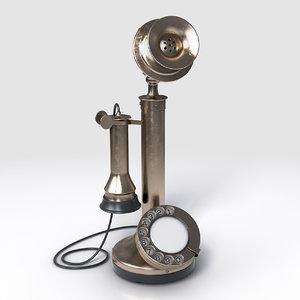 3D model vintage candlestick bell telephone