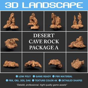 3D desert rock polys cave