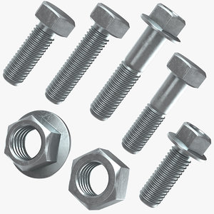 hex bolt nut 3D model