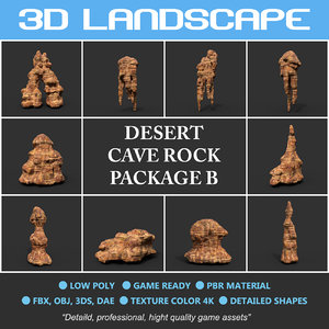desert rock polys cave 3D model