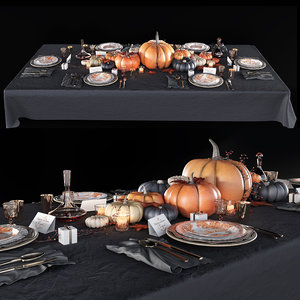 3D table setting decoration tableware model