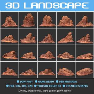 polys landscape mountain nature 3D model