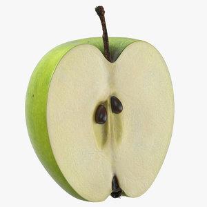 3D green apple half cut model