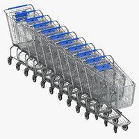 Metal Shopping Carts 01 Blue Row of 10