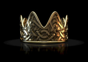3D concept gold crown thorn model