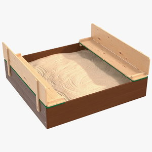 wooden sandpit bench seats 3D