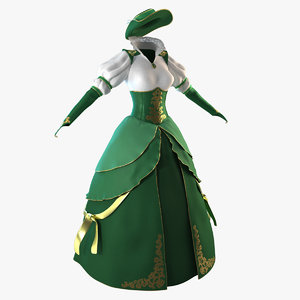 green dress hat 3D model
