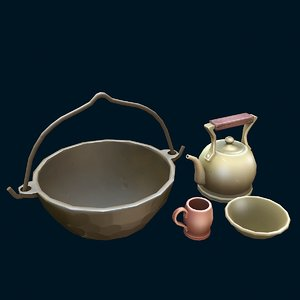 stylized dishes 3D