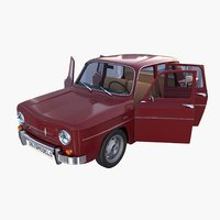 Renault 8 with interior Dark Red