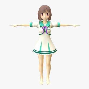 cartoon nurse rigged 3D