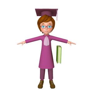 graduating student cartoon 3D