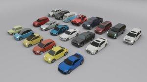 3D 20 cars suv sedan model