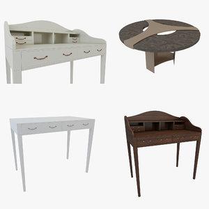 3D scandinavian table coffee set model