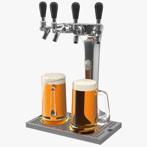 tap stainless steel beer tower 3D model