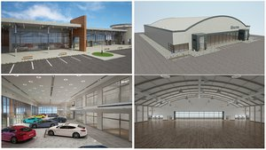 car dealership supermarket building 3D model