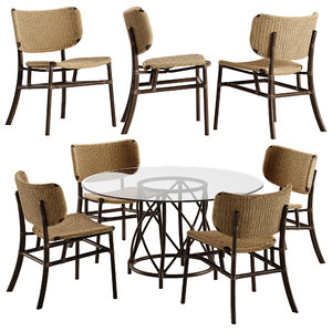 hanalei dining chair table 3D model