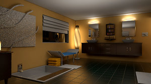 interior restroom bath room 3D model