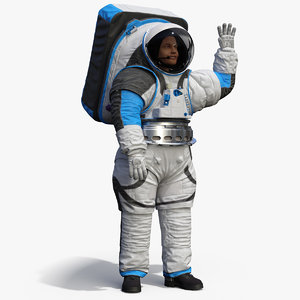 astronaut wearing xemu greetings 3D model