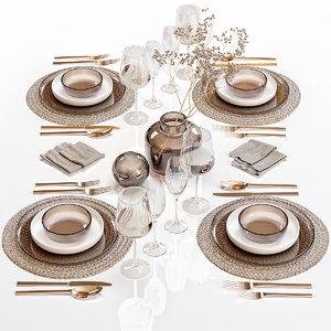 table setting 28 decor 3D model