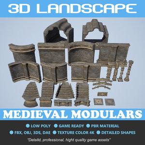 3D polys medieval architecture model
