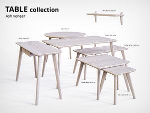 3D table ash veneer desk