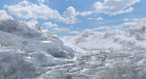 3D model snow mountain winter