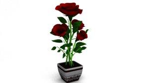 3D semi-realistic rose plant