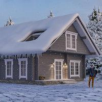 Winter Scene Log Cabin