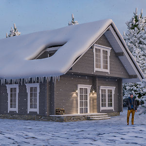 3D model winter scene house snowman