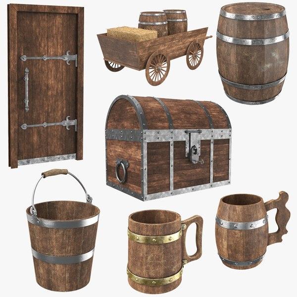 real old wooden 3D model