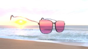 3D beach sunglasses red model