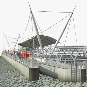 3D model millennium wheel pier platform