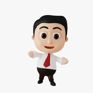 businessman cartoon character rigged 3D model