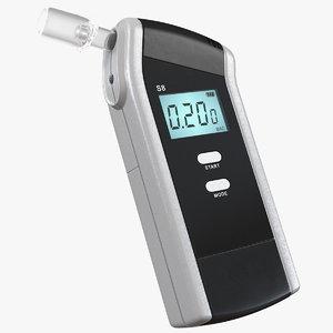 3D model digital portable breathalyzer breath