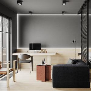 3D model apartment kitchen bedroom interior