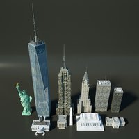 Low Poly US Buildings