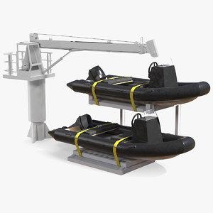 3D model supply boat jib crane