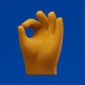 3D ok hand symbol
