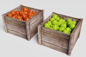 3D crate box apples market model