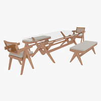 Cassina Jeanneret Capitol Complex Glass Table with Office Chair and Wooden Bench Set