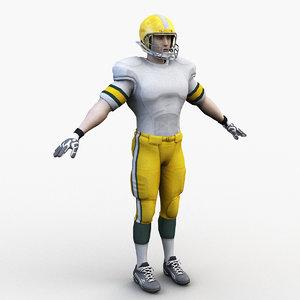 3D american football player 0001 model