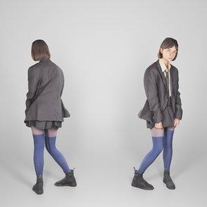 young woman school uniform 3D model
