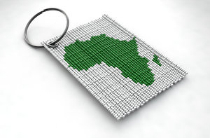 traditional african beaded keyring 3D model