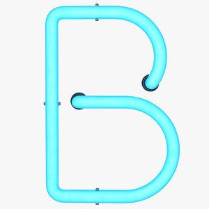 neon letter b light 3D model